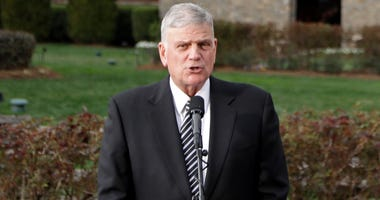 In this Feb. 26, 2018 file photo, Franklin Graham speaks to the media in front of the Billy Graham Library in Charlotte, N.C. Graham says he is coming to Berkeley, Calif., Friday, June 1, 2018, in peace and in a longshot attempt to sway some voters to sup