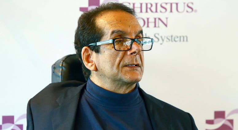 In this March 31, 2015, file photo, Charles Krauthammer talks about getting into politics during a news conference in Corpus Christi, Texas. The conservative writer and pundit Krauthammer has died. His death was announced Thursday, June 21, 2018, by two m
