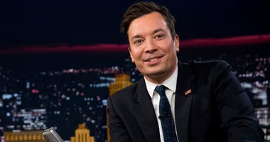 """In this Friday, Sept. 16, 2016, file photo, Jimmy Fallon talks during a taping of """"The Tonight Show with Jimmy Fallon,"""" in New York. U.S. President Donald Trump is telling Fallon to """"be a man"""" and stop """"whimpering"""" about the personal anguish he felt over"""