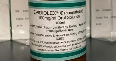 This May 23, 2017 file photo shows GW Pharmaceuticals' Epidiolex, a medicine made from the marijuana plant but without THC. U.S. health regulators on Monday, June 25, 2018, approved the first prescription drug made from marijuana, a milestone that could s