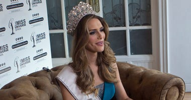 In this photo taken on Tuesday, July 10, 2018, Angela Ponce, who won Spain's Miss Universe competition in June, speaks during an interview with The Associated Press in Madrid, Spain. The first transgender woman to compete in the global Miss Universe pagea
