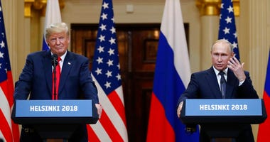 President Trump and Russian President Putin at joint news conference in Helsinki, Finland