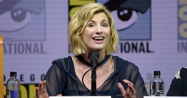 "Jodie Whittaker speaks at the ""Doctor Who"" panel on day one of Comic-Con International on Thursday, July 19, 2018, in San Diego.(Photo by Richard Shotwell/Invision/AP)"