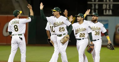 In this Wednesday, Aug. 8, 2018, file photo, Oakland Athletics players celebrate after beating the Los Angeles Dodgers 3-2 in a baseball game in Oakland, Calif. Never before in his managerial career has Bob Melvin been around a team with such a knack for