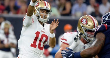 San Francisco 49ers quarterback Jimmy Garoppolo (10) throws a pass against the Houston Texans during the first half of an NFL preseason football game Saturday, Aug. 18, 2018, in Houston. (AP Photo/Eric Christian Smith)