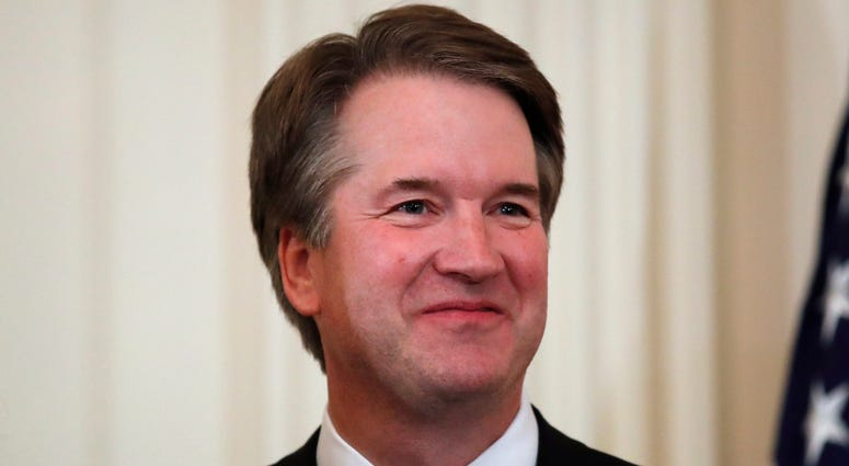 In this July 9, 2018, file photo, Judge Brett Kavanaugh, President Donald Trump's Supreme Court nominee stands in the East Room of the White House in Washington. Kavanaugh suggested that attorneys preparing to question President Bill Clinton in 1998 seek