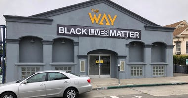 "The front of the Way Christian Center in Berkeley with a new ""Black Lives Matter"" sign displayed."