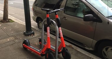 Cyclists in San Francisco are complaining that e-scooter riders like the devices to bike racks.