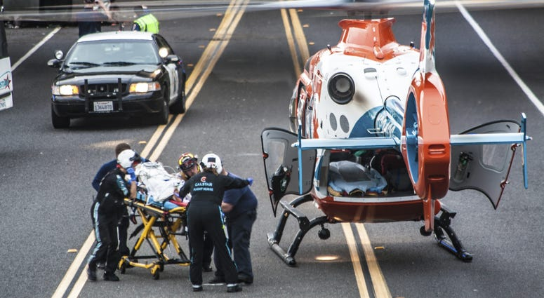 Calstar responders handle a medical emergency on the Mendocino County coast.