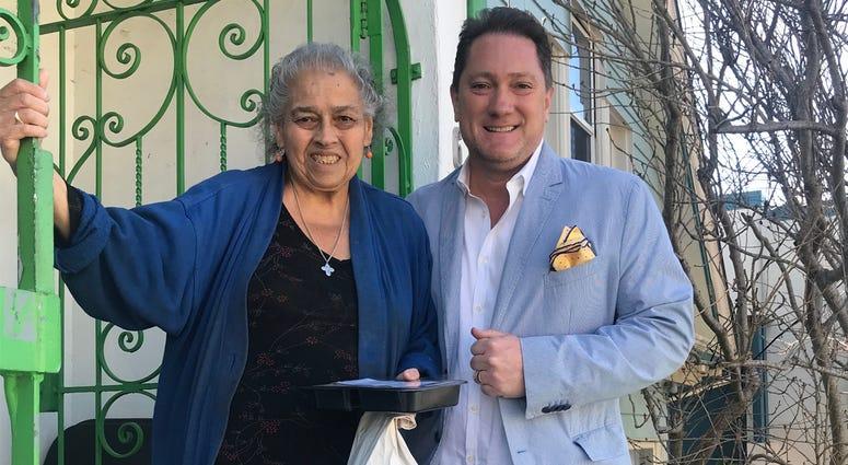 Liam and Mrs. Alvarez, an On Lok client