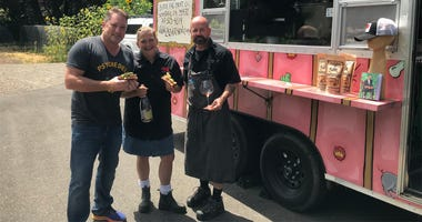 "Liam with Chefs John Stewart & Duskie Estes of ""The Black Piglet"" food truck"