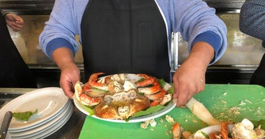 Tom La Torre of Sabella & La Torre was serving crab from Washington state while California's crabbing season has been delayed for weeks in December 2019.