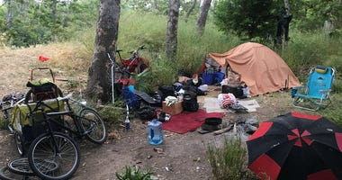 A homeless encampment near the Guadalupe River in San Jose on June 3, 2019.