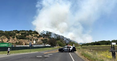 A brush fire in Solano County near Cordelia on June 7, 2019.