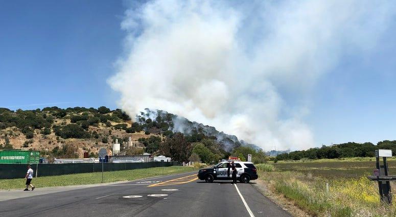 A brush fire in Solano County near Cordelia on June 7, 2019.