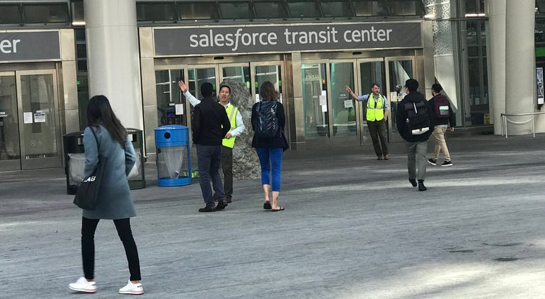 The Salesforce Transit Center was evacuated on Tuesday after officials discovered a cracked beam in the new building.