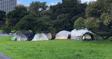 Oakland Homeless Encampment Near Lake Merritt
