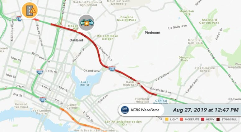A police chase and crash on I-580 in Oakland led to the closure of the westbound freeway for hours on Aug. 27, 2019.