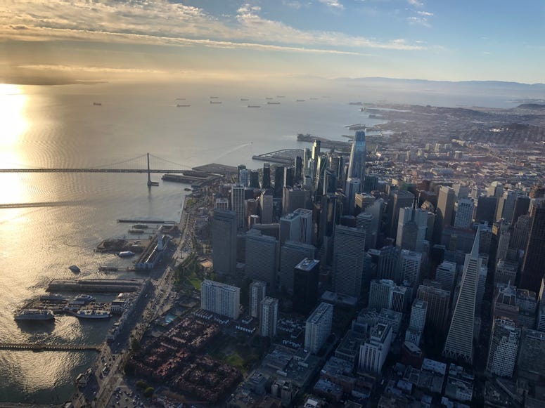 A view of San Francisco taken aboard a Voom helicopter on Oct. 17, 2019.