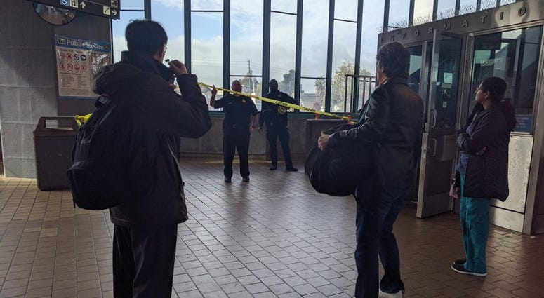 Police used a Taser on a suspect at the West Oakland BART station who they say had injured a rider with a box cutter on Oct. 18, 2019.
