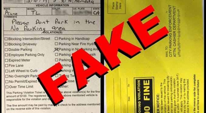 Alameda police began warning drivers on Jan. 15, 2020 about bogus parking tickets left on cars.