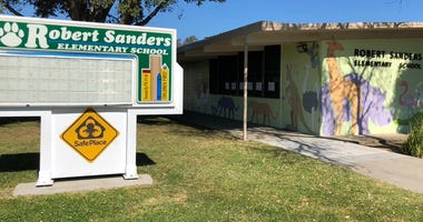 A racial slur against African Americans was scrawled on a poster at the Robert Sanders Elementary School in San Jose, the third act of vandalism in the Mt. Pleasant Elementary School District in the past 12 months.