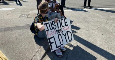 Protests outside of Oakland Police headquarters over the death of George Floyd in Minneapolis.