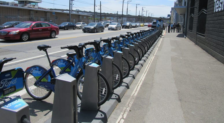A FordGo bike station in San Francisco.