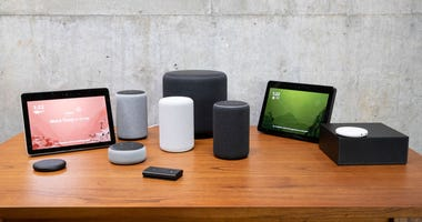 A selection of smart speakers and other devices.