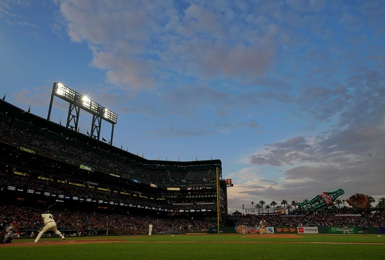 A general view of inside Oracle Park while Pablo Sandoval #48 of the San Francisco Giants bats against the Washington Nationals in the bottom of the fourth inning at Oracle Park on August 5, 2019 in San Francisco, California.
