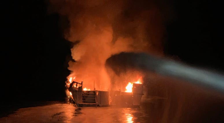 In this handout provided by Ventura County Fire Department, the 75-foot Conception, based in Santa Barbara Harbor, burns after catching fire early September 2, 2019 anchored off Santa Cruz Island, California.