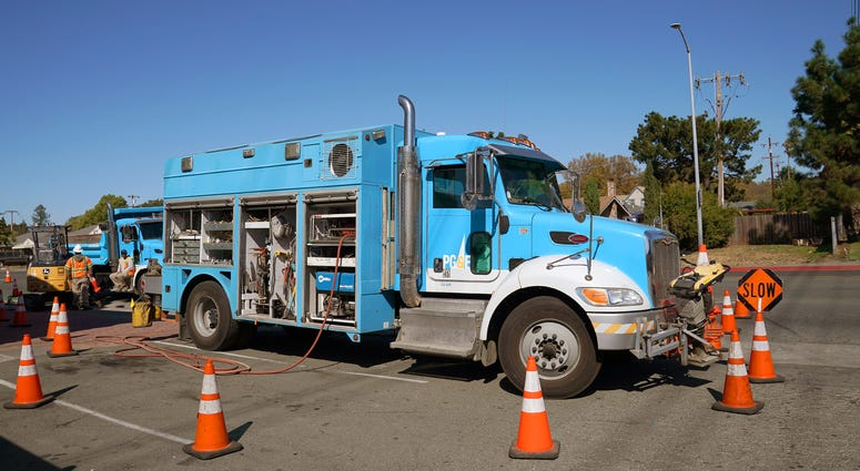 Pacific Gas & Electric crews work on October 09, 2019 in Vallejo, California. PG&E plans on cutting power to hundreds of thousands of customers across central and northern California as a precaution against starting wildfires.