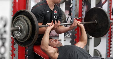 Danny Care lifts a barbell during the England training and weights session held at Pennyhill Park on July 20, 2011 in Bagshot, England.