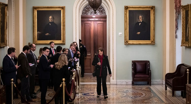 Sen. Dianne Feinstein (D-CA) walks past reporters as she makes her way to the Senate floor for the start of impeachment trial proceedings at the U.S. Capitol on January 21, 2020 in Washington, DC.
