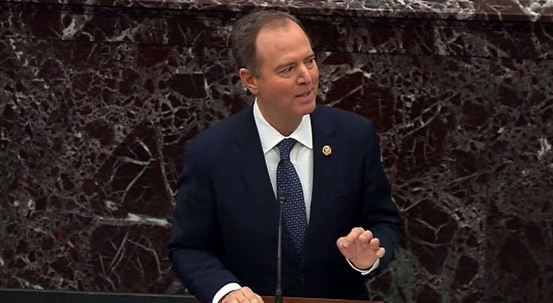 Rep. Adam Schiff speaks as part of the Democratic team arguing for President Trump's removal from office during the impeachment trial on Jan. 22, 2020.