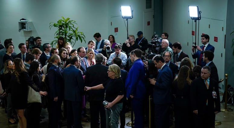 ep. Mike Johnson (R-LA), Rep. Mark Meadows (R-NC), Rep. Elise Stefanik (R-NY), Rep. Lee Zeldin (R-NY), and Rep. Jim Jordan (R-OH) speak with reporters in the Senate subway before the impeachment trial of President Trump on Jan. 23, 2020.