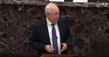 : In this screengrab taken from a Senate Television webcast, Legal Counsel for President Donald Trump Ken Starr speaks during impeachment proceedings against U.S. President Donald Trump in the Senate at the U.S. Capitol on January 27, 2020.