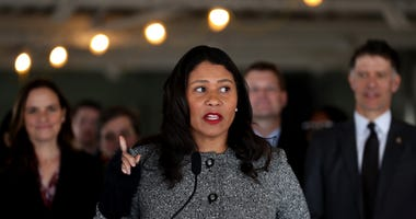 : San Francisco Mayor London Breed speaks during a news conference at the future site of a Transitional Age Youth Navigation Center on January 15, 2020.