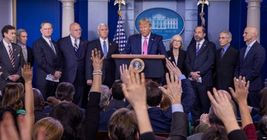 onald Trump speaks at the beginning of a new conference with members of the coronavirus task force, including Vice President Mike Pence on Feb. 26, 2020.