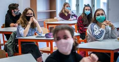 PRAGUE, CZECH REPUBLIC - MAY 11: Pupils attend classes as the elementary schools started teaching to prepare children for exams for high school on May 11, 2020, in Prague, Czech Republic.