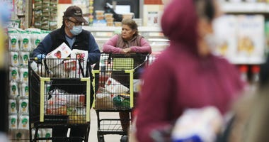 Seniors shop for groceries during special hours open to seniors and the disabled at Northgate Gonzalez Market, a Hispanic specialty supermarket, on March 19, 2020 in Los Angeles