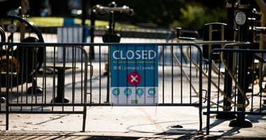 Outdoor exercise equipment are closed at Panhandle Park during the coronavirus pandemic on May 03, 2020 in San Francisco.