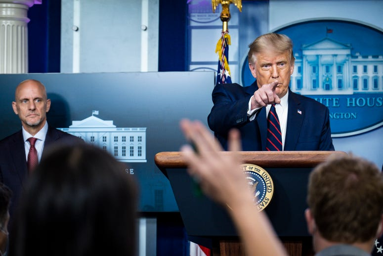 President Donald Trump announces that the Food and Drug Administration is issuing an emergency authorization for blood plasma as a coronavirus treatment during a press conference in James S. Brady Briefing Room at the White House on August 23, 2020.
