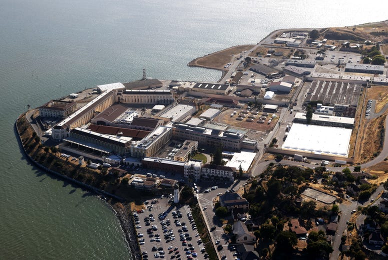 An aerial view San Quentin State Prison on July 08, 2020 in San Quentin, California. Over 1,400 inmates and staff at San Quentin State Prison have become infected with coronavirus COVID-19 after inmates from a Chino, California prison.