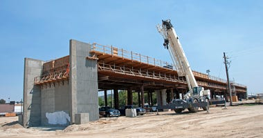 In this handout image provided by the California High-Speed Rail Authority, Construction of the Muscat Avenue Viaduct seen west of State Route 99, just east of Cedar Avenue on July 13, 2017 in Fresno, California..