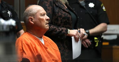 "SACRAMENTO, CA - APRIL 27: Joseph James DeAngelo, the suspected ""Golden State Killer"", appears in court for his arraignment on April 27, 2018 in Sacramento, California."