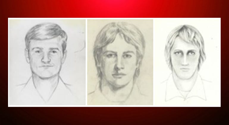 """FBI shows artist renderings of a serial killer and rapist, also known as the """"East Area Rapist"""" and """"Golden State Killer"""" from 1976 to 1986."""