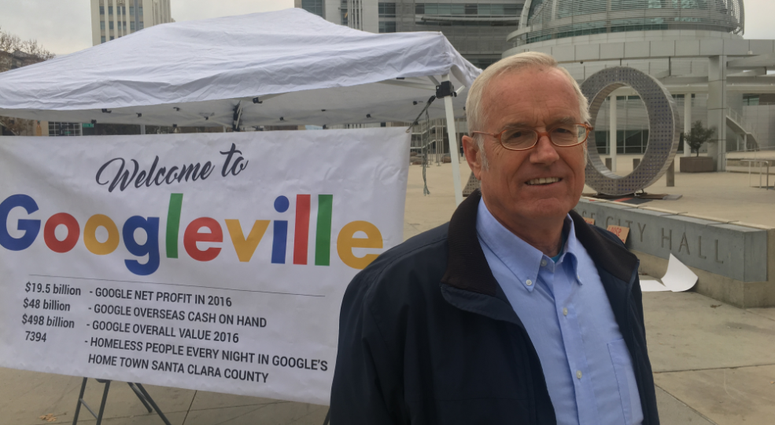 Sandy Perry, an organizer with the Affordable Housing Network of Santa Clara County, is part of a hunger strike to protest Google purchasing downtown San Jose property.