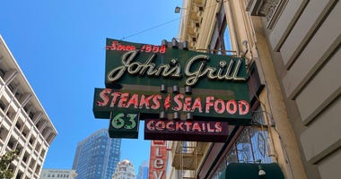 John's Grill on Ellis St. in San Francisco on the first day of its coronavirus-related reopening.