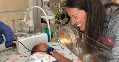 Kristy Dodge and her son Jasper at CPMC Van Ness Hospital in San Francisco